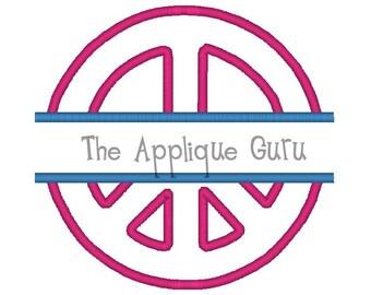 Split Peace Sign Applique Machine Embroidery Design