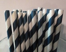 100 Navy Blue Striped Paper Straws-  Food Safe, Biodegradeable, Soy Based Ink- Baby Shower Decorations- Easter Decor
