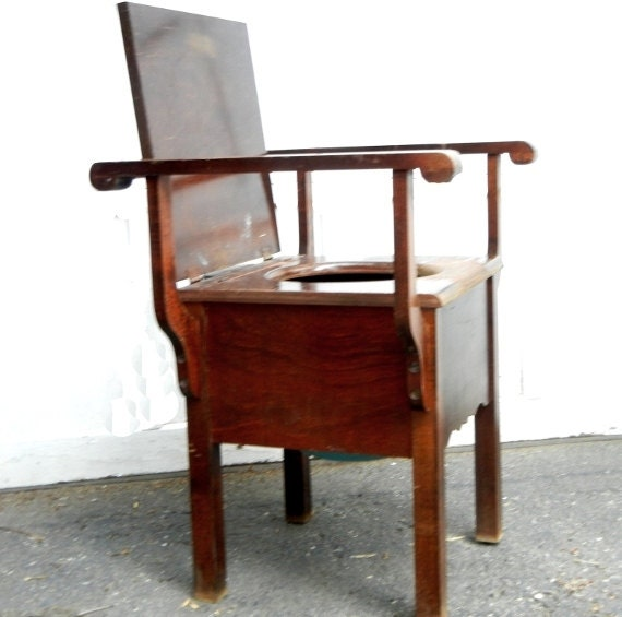 Vintage antique commode wooden potty chair with original turquoise