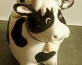 Adopt a Vintage Porcelain Cow Jar,  Equipped With a Bell and a Yellow Duck on the Back