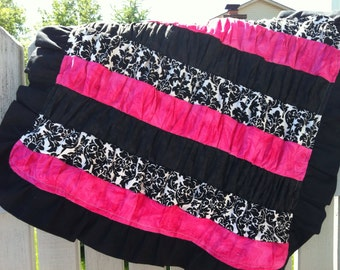 Pink and Black Ruffle Quilt/Security Blanket