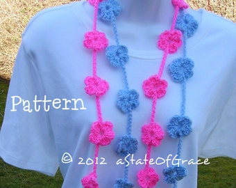 Flower Lariat Scarf PATTERN # 1, Spring, Crochet, Bunting, Garland, INSTANT DOWNLOAD