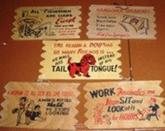 vintage Retro funky kitsch...  Classic WOODEN POSTCARD Wall Hangers set of 5  ...