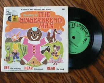vintage Tunes ... Walt Disney GINGERBREAD MAN Book and 45 RECORD  ...