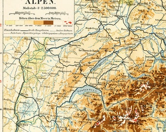 Alps geographic map European Alps map panoramic map mountain passes list with altitude Appennines map : Antique lithograph old book plate