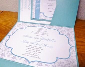Damask Wedding invitation set gray and aqua