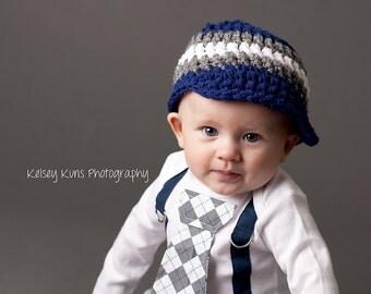 Baby Boy Tie Bodysuit with Suspenders Navy and Grey Argyle - Little Man, Argyle, Photo Prop