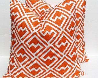 Throw Pillow Covers 18x18. Orange Pillow Cover Orange Pillow Orange and White .Home Decor.Housewares.Print both sides. Sofa Pillow .Cushion