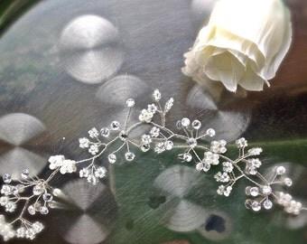 "Wedding hair vine, Bridal headpiece, Tiara, halo, crown, Boho, Etheral, Celtic, Pagan,floral prom 10""/25cm flower girl, bridesmaid UK"