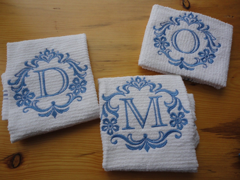 Damask Monogram Kitchen Towel Damascus Kitchen Decor Gift For