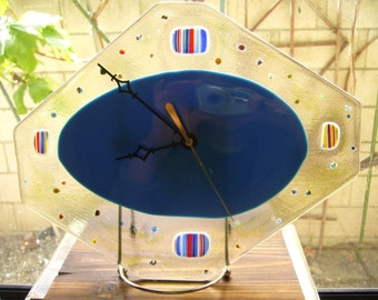 Blue Glass Fusion Desk Clock