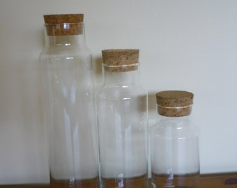 Set of 3 Vintage Glass Storage Jars with Cork Lids, Libbey Innkeeper Jars, Glass Display Jars