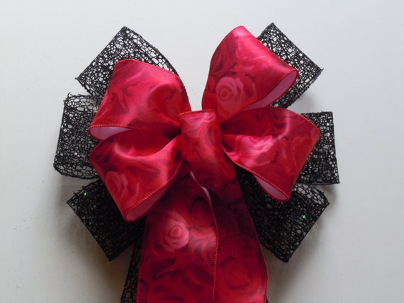 Red Black Rose Wreath Bow Wedding Pew Bows Red Rose Black Net Wedding Ceremony Chair Bow Black Red Rose Halloween Wreath Bow Door hanger Bow