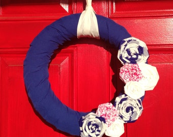 "14"" Spring Wreath with Fabric Flowers"