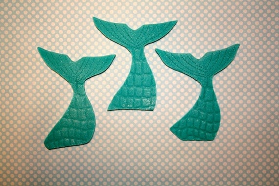 MERMAID FINS / TAILS  -  Fondant Cupcake, and Cookie Toppers - 1 Dozen