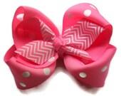 Girls hair bows, Chevron hair bow, Hair bows for girls, Pink, Hair bow, chevron hair bow childrens hair accessories Pink hair bows