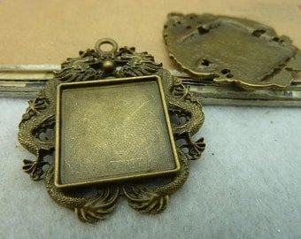 10 dragon square bezel setting cabochon mounting, antique bronze , 20x20mm- WC3249