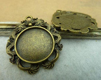 20 dragon round bezel setting cabochon mounting, antique bronze, 18mm- WC3253
