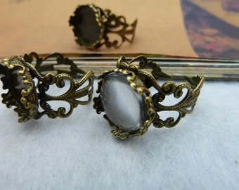 10PCS antique bronze 14mm round lace Crown-Edged Bezel Cup Adjustable Cabochon Ring Mountings- WC2289