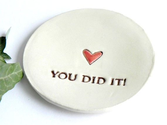 Ceramic Ring Dish Text Message to Valentine Red Heart Minimalist Pottery Recycled Box