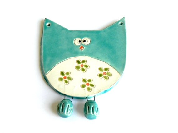 Owl Ornament, Ceramic Bird with Green Flower Skirt, Eco Friendly Materials in Recycled Paper Box