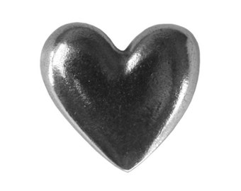 Danforth Large Heart 11/16 inch ( 17 mm ) Pewter Shank Button
