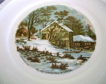 Vintage Currier & Ives The Old Homestead in Winter 10 1/4 plate Shabby Chic Cottage Chic Traditional