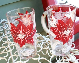 Vintage Set of 2 Swanky Drinking Glasses Red and White Floral Pattern
