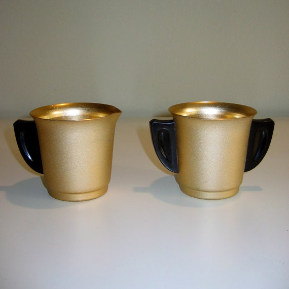 Vintage 1950s Mirro Aluminum Frosted Gold Color Sugar & Creamer