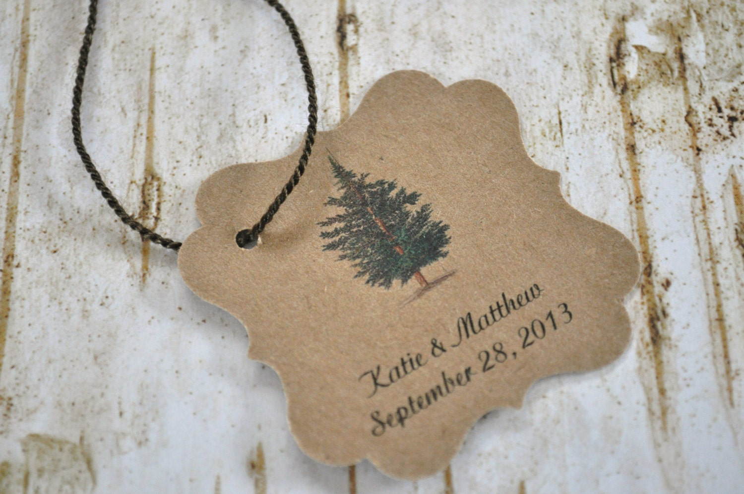 Wedding Favor Tags Rustic : Tree Favor tags pine Tree wedding woodland rustic forest tags