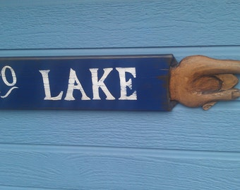 Hand crafted, vintage wood TO LAKE sign