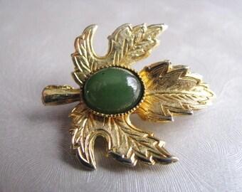 Vintage Brooch - Jade Stone on Gold Plated Leaf - Jade Center Brooch