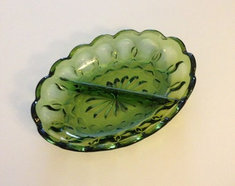 Avocado Green Divided Pressed Glass Relish Dish Candy Bowl Vintage Mid-Century Pickles