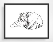 Cat Art Print, Black and White Line Drawing Print, Valentine Gift for Cat Lover, Line Drawing Cat, Pen and Ink Drawing, Cat Print, Line Art