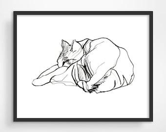 Cat Art Print, Cat Illustration, Pen and Ink Drawing, Cat Lover Gift, Minimalist Poster, Cat Print, Pet Art, Bedroom Wall Decor, Cute Cat