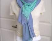 Multicolor blue green scarf, Blue Scarf, Green Scarf,  cotton ombre scarf
