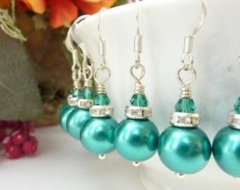 Bridesmaids earrings teal earrings teal green earrings vintage glass pearls silver rhinestones