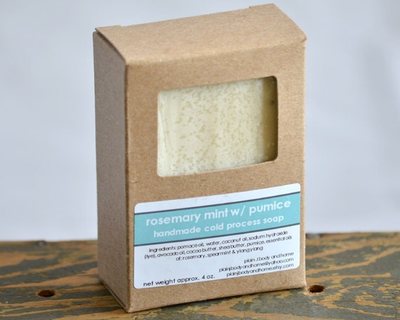 Rosemary Mint with Pumice Handmade Soap - pumice soap - exfoliating soap - rosemary mint soap - gardeners soap - mechanics soap - fresh soap