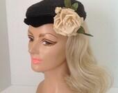 Vintage Black Straw Ladies Cap with Silk Rose and Velvet Banding