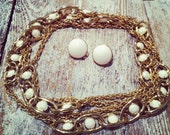 Vintage MONET Gold and Milk Glass Necklace & Earrings Set 1960's