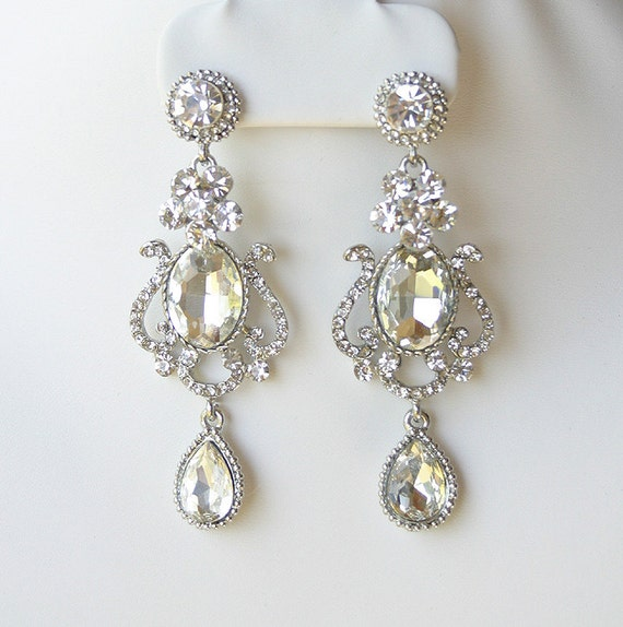 Wedding earrings, Crystal chandelier earrings, Wedding jewelry, Bridal accessory, Tear drop dangle