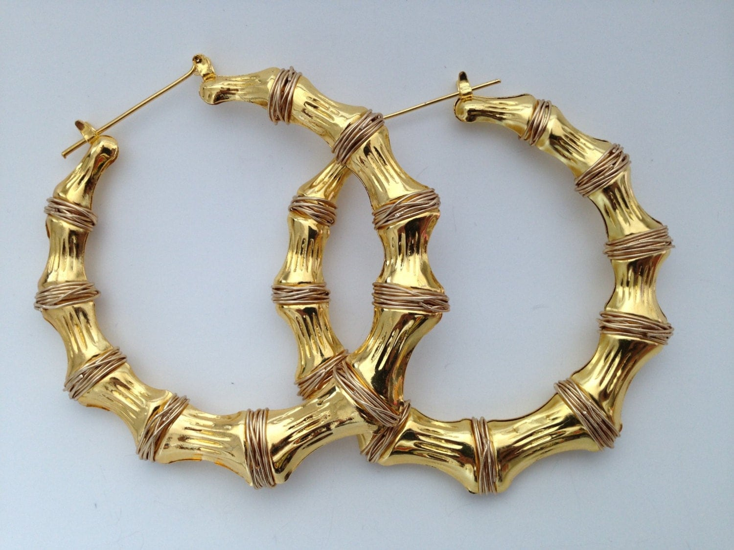 Spring Jewelry Hip Hop Gold Bamboo Earrings Gold Hoops