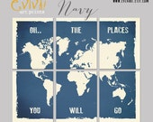 World Map Wall decor Inspiration quote Oh.. the places you will go  - Split World Map Print