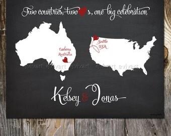 Chalk Board USA Australia Custom Wedding Print Destination Wedding Gift  Memento Couple alternative Signature Guest Books Wedding Map