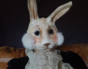 Alice in Wonderland Paper mache rabbit mask bunny mask