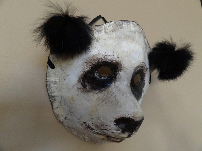 3d mask paper mache animal masks panda bear mask by for Paper mache mash