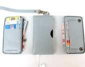 iPhone5 Gray Trifold leather iphone wallet  wristlet  with zipper