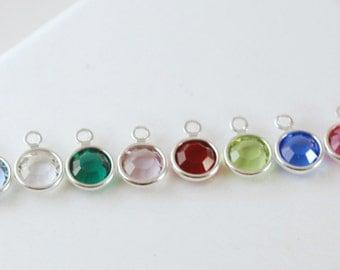 Add a Swarovski Bezel Set Crystal Birthstone Birth Month Color