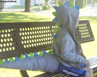 Toddler Dinosaur Dragon Hoodie Sweatshirt & Tail Halloween Costume Birthday Gift Outfit