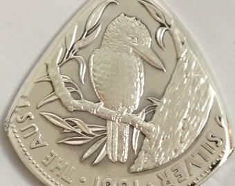 Coin Guitar Pick 1991 Australia Kookabura 99.9% fine Silver nearly 1 oz